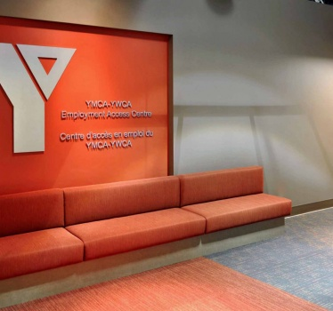YMCA-YWCA Employment Access Centre, Ottawa, entrance and reception signage